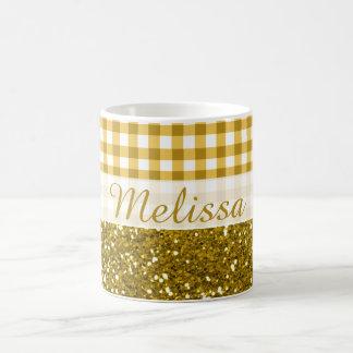 Glittery Gold Glitter Gingham Pattern Custom Name Coffee Mug