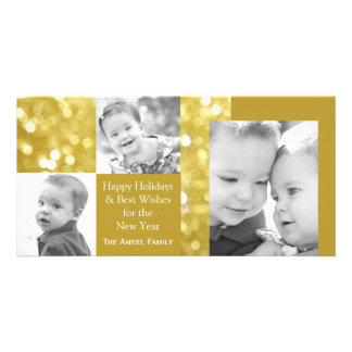 Glittery Gold  | Holiday Three Photo Card
