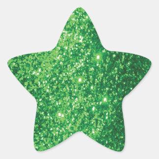 Glittery Green Star Sticker