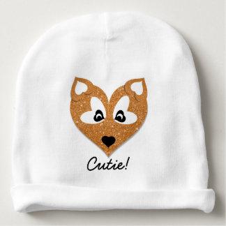 Glittery Heart Shaped Fox Baby Beanie