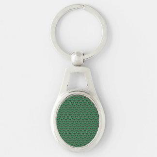 Glittery Holiday Zigzags Key Ring