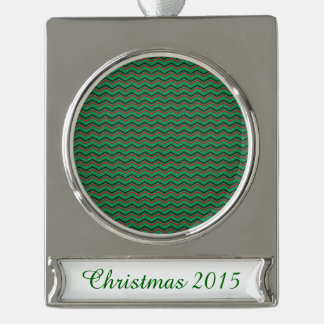 Glittery Holiday Zigzags Silver Plated Banner Ornament