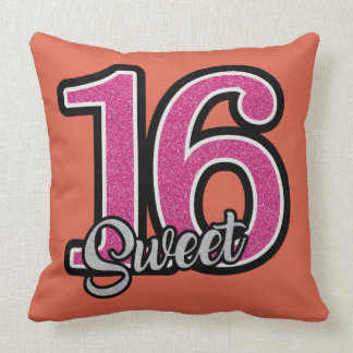 Glittery Pink and Orange Sweet Sixteen Pillow