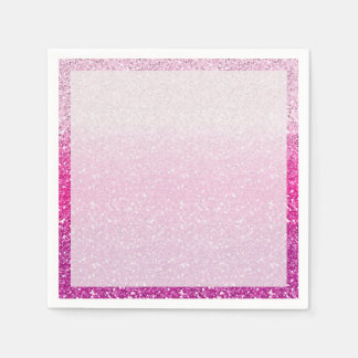 Glittery Pink Ombre Disposable Serviettes