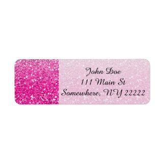 Glittery Pink Ombre Return Address Label