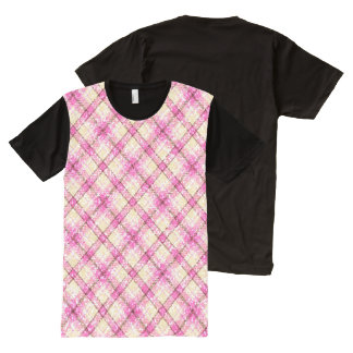 Glittery Pink & Yellow Plaid All-Over Print T-Shirt