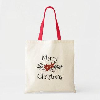 Glittery Poinsettia Christmas Tote Bag