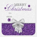 Glittery Purple/Silver Snowflakes Gift Tag Square Sticker