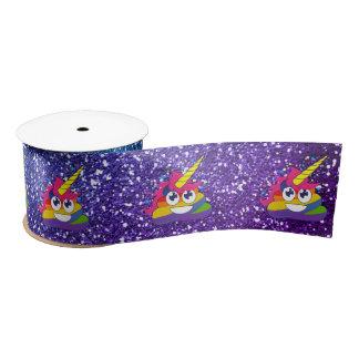 Glittery Rainbow Unicorn Poop Emoji Ribbon Satin Ribbon