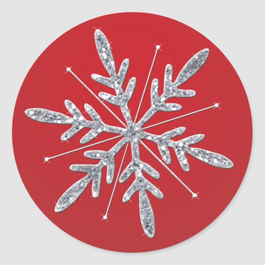 Sticker design studio create your own custom stickers - Glittery Red And Silver Snowflake Sticker Zazzle