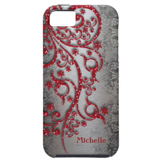Glittery Red Black Silver Personalized iPhone 5 Case
