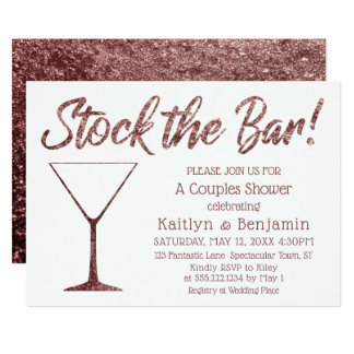 Glittery Rose Gold Stock the Bar Couples Shower Card