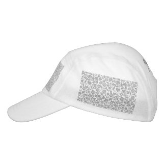 Glittery Silver Floral on White Hat