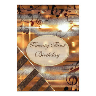 Glittery Silver & Gold Music Notes 21st Birthday Card