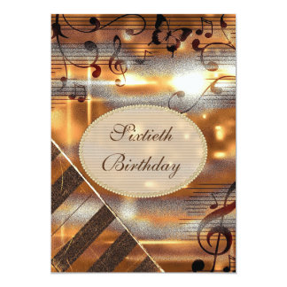 Glittery Silver & Gold Music Notes 60th Birthday Card