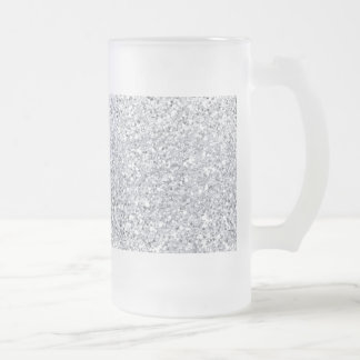 Glittery Silver Ombre Frosted Glass Beer Mug