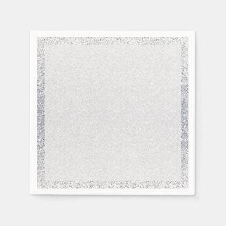 Glittery Silver Ombre Paper Napkins