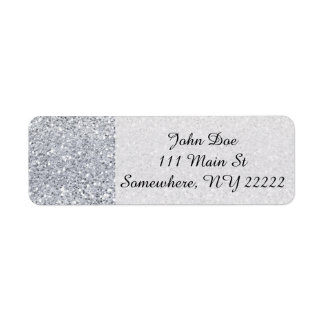 Glittery Silver Ombre Return Address Label
