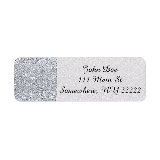 Glittery Silver Ombre Return Address Label