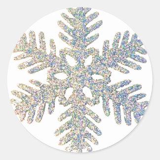 Glittery Snowflake Classic Round Sticker
