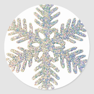 Glittery Snowflake Round Sticker