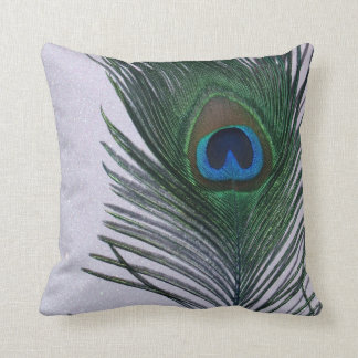 Glittery White Peacock Feather Still Life Cushion