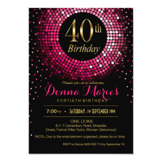 Glitz Bling Confetti 40th Birthday | fuchsia gold 13 Cm X 18 Cm Invitation Card