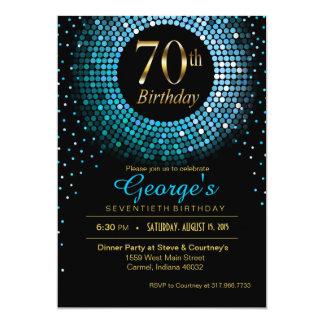 Glitz Bling Confetti 70th Birthday blue gold black Card