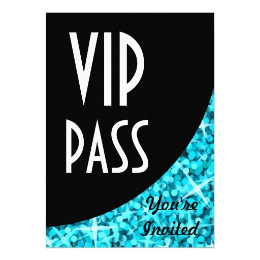 "Glitz Blue black curve ""VIP Pass"" invitation"