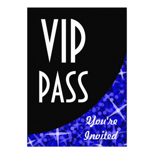 "Glitz Dark Blue black curve ""VIP Pass"" invitation"