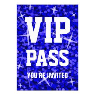 Glitz Dark Blue 'VIP PASS' invitation