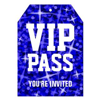 Glitz Dark Blue 'VIP PASS' invitation tag