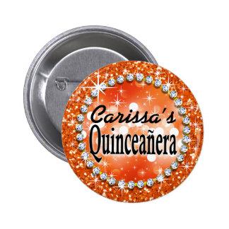 Glitz Glam Bling Quinceañera Celebration orange 6 Cm Round Badge