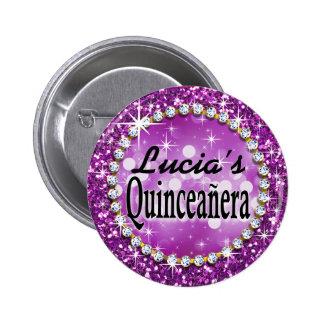 Glitz Glam Bling Quinceañera Celebration purple 6 Cm Round Badge