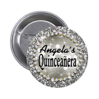 Glitz Glam Bling Quinceañera Celebration silver 6 Cm Round Badge