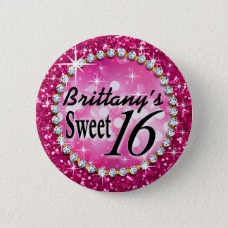 Glitz Glam Bling Sweet 16 Celebration fuschia 6 Cm Round Badge