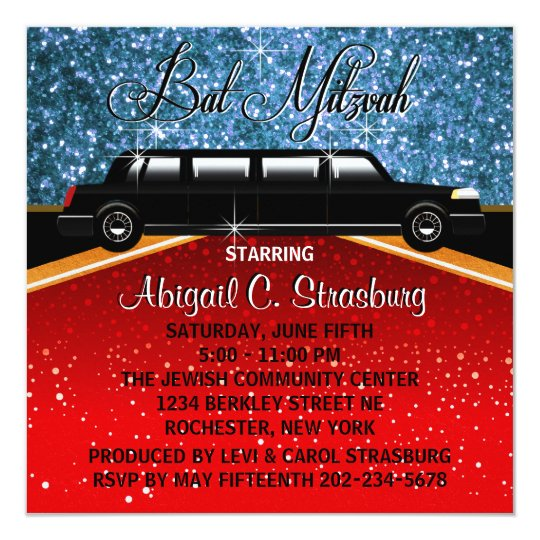Glitz Glamour Limo Movie Star Invitation Template