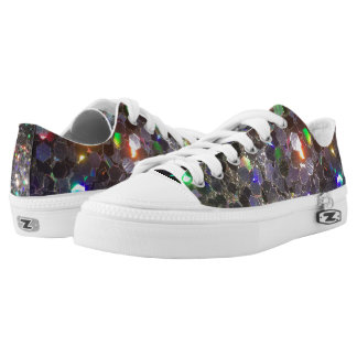 Glitz Glitter Zipz Low Tops with Black Holo! Printed Shoes