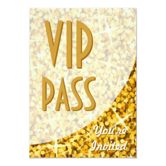 "Glitz ""Gold"" curve ""VIP Pass"" invitation"