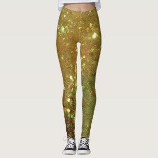 Glitz Gold Green Glitter print Leggings! Leggings