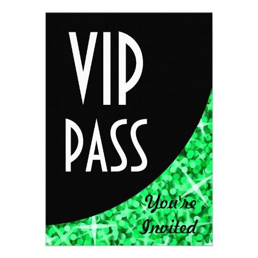"Glitz Green black curve ""VIP Pass"" invitation"