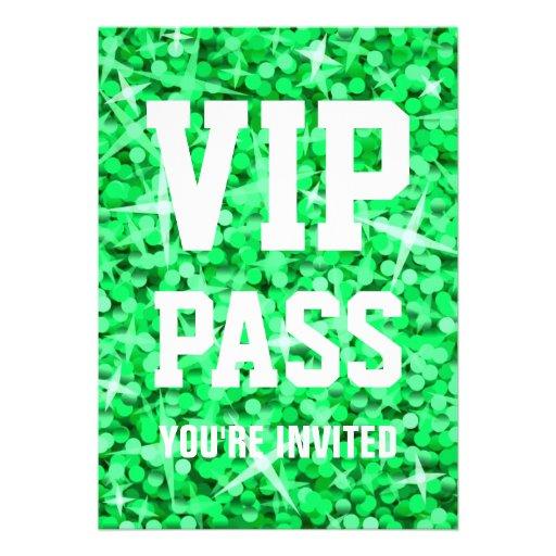 Glitz Green 'VIP PASS' invitation