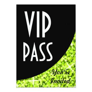 "Glitz Lime black curve ""VIP Pass"" invitation"