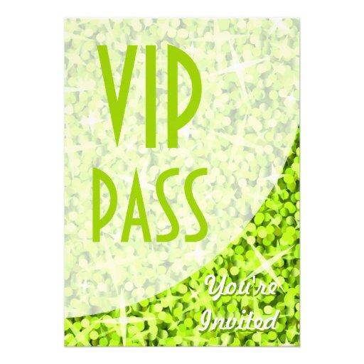 "Glitz Lime curve ""VIP Pass"" invitation"