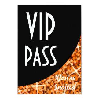 "Glitz Orange black curve ""VIP Pass"" invitation"