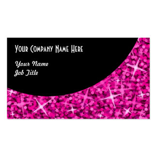 Glitz Pink Black Curve business card template