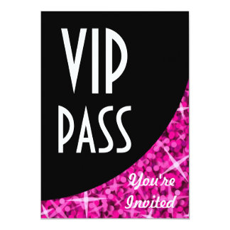 "Glitz Pink black curve ""VIP Pass"" invitation"