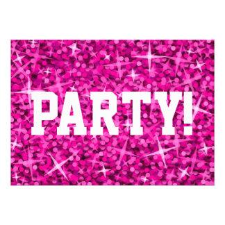 Glitz Pink Party invitation white text