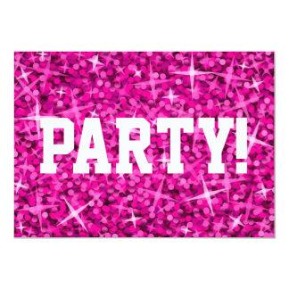 Glitz Pink 'Party!' invitation white text