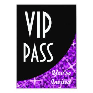 "Glitz Purple black curve ""VIP Pass"" invitation"